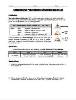 Worksheet - Gravitational Potential Energy (GPE) Word Problems (Part 2)