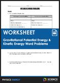 Worksheet - Gravitational Potential Energy & Kinetic Energy Word Problems