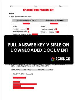 Worksheet - Gravitational Potential Energy & Kinetic Energy Word ...
