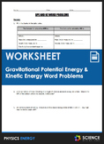Worksheet - Gravitational Potential Energy & Kinetic Energ