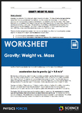 Worksheet - Gravity: Weight vs. Mass