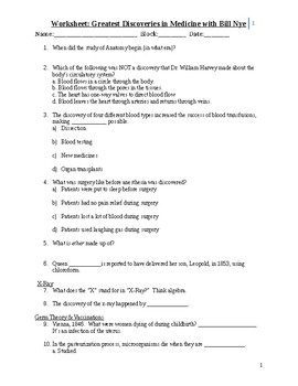 Bill Nye Greatest Discoveries Worksheets & Teaching ...