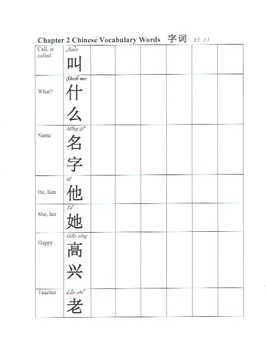 Worksheet- Greetings Vocabulary in Chinese