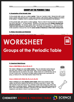 Worksheet - Groups of the Periodic Table (Incl. Metals, Nonmetals & Metalloids)