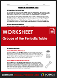 Worksheet - Groups of the Periodic Table (Incl. Metals, No