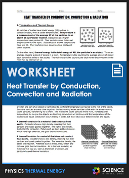 Worksheet - Heat Transfer by Conduction, Convection, and Radiation
