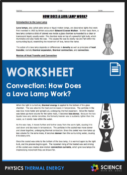 Worksheet - How Does a Lava Lamp Work? (Heat Transfer and Convection)