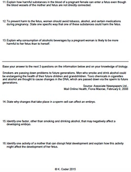 Worksheet - Human Pregnancy Complications *EDITABLE*