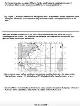 Worksheet - Hurricane Tracking *Editable*