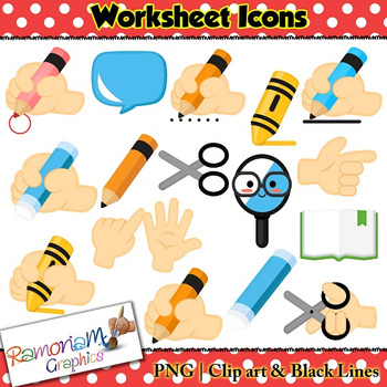 Worksheet Icons Clip art by RamonaM Graphics | Teachers Pay Teachers