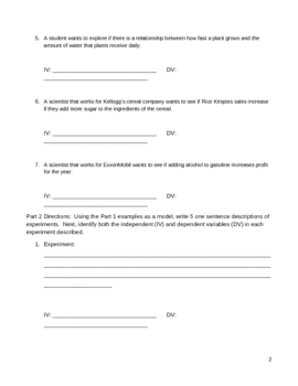 Worksheet - Identifying Independent and Dependent Variables