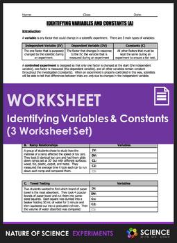 Worksheet - Identifying Variables and Constants (3 Worksheet Set)