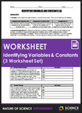 Worksheet - Identifying Variables and Constants (3 Worksheet Set)