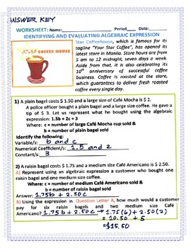 Worksheet: Identifying and Evaluating Algebraic Expression in a Coffee House