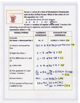 Worksheet identifying and evaluating algebraic expression in a coffee house worksheet identifying and evaluating algebraic expression in a coffee house ibookread PDF