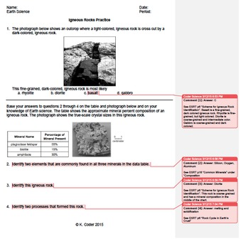 Worksheet - Igneous Rocks #2 *EDITABLE* (WITH ANSWERS EXPLAINED)