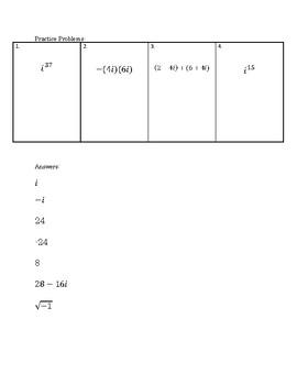 Worksheet Imaginary i
