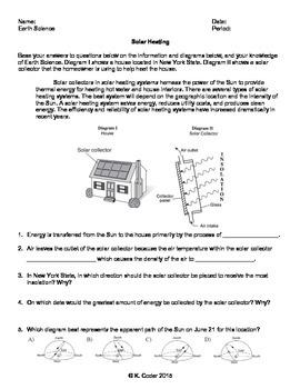 Worksheet - Solar Heating in New York State *Editable*