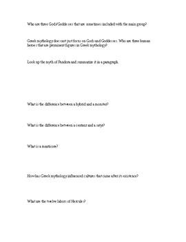 Worksheet / Internet Activity; Greek Myth: Gods, Mythological Creatures, History