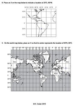 Worksheet - Introduction to Latitude and Longitude (Editable)
