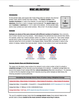 Worksheet - Isotopes, Percent Abundance, and Weighted Averages