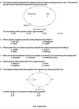 Worksheet - Kepler's Laws Multiple Choice *Editable*