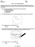 Worksheet - Kepler's Laws Multiple Choice *Editable*