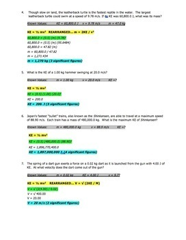 Worksheet - Kinetic Energy (KE) Word Problems (Part 1)