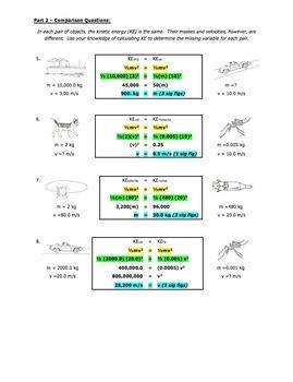 Worksheet - Kinetic Energy (KE) Word Problems (Part 2)
