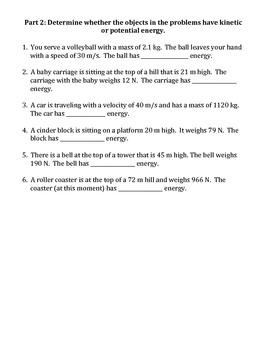 Worksheet: Kinetic Vs Potential Energy by Travis Terry | TpT
