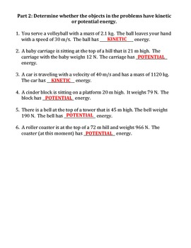 Worksheet: Kinetic Vs Potential Energy