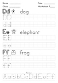 "Worksheet - Learn and practice writing ""d"" ""e"" and ""f"""