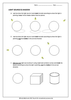 Worksheet Light and Shadows