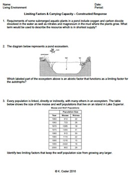 Worksheet Limiting Factors Carrying Capacity CR EDITABLE 2529855 on Math Constructed Response Worksheets