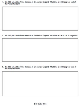 Worksheet - Longitude and Time (Editable)