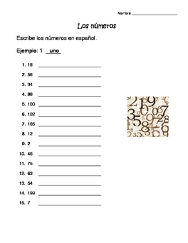 Worksheet Los Numeros by Nerdy Spanish Resources | TpT