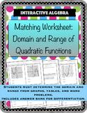 Worksheet Matching Domain and Range of Quadratic Functions