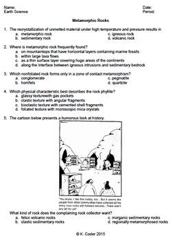 Worksheet - Metamorphic Rocks #1 *EDITABLE* (WITH ANSWERS EXPLAINED)