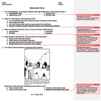 Worksheet Metamorphic Rocks 1 Editable With Answers Explained