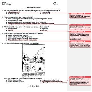 Worksheet - Metamorphic Rocks #1 *EDITABLE* (WITH ANSWERS