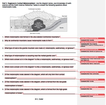 Worksheet - Metamorphic Rocks #2 *EDITABLE* (WITH ANSWERS