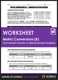 Worksheet - Metric Conversions Using Conversion Factors or