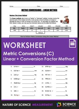 Worksheet - Metric Conversions Using the Linear Method & Dimensional Analysis