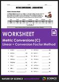 Worksheet - Metric Conversions Using the Linear Method & D