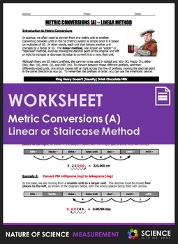 Worksheet - Metric Conversions Using the Linear or Staircase Method
