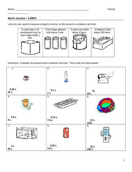 worksheet metrics liters and milliliters by jjms tpt. Black Bedroom Furniture Sets. Home Design Ideas
