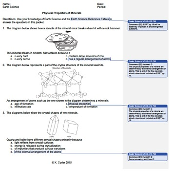 Worksheet - Minerals Physical Properties *EDITABLE* (WITH