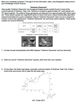 Worksheet - Minerals in New York State *EDITABLE* (WITH ANSWERS EXPLAINED)