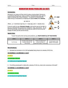 Worksheet - Momentum (P=MV) Word Problems (Part 1) by Science With ...