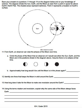 Worksheet - Moon Phases (Constructed Response) *EDITABLE*